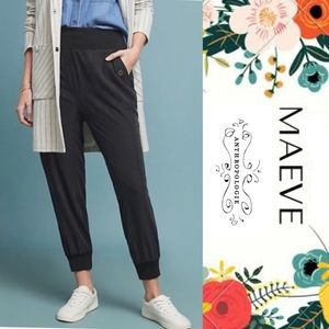 Maeve by Anthropologie Ciceroni Black Joggers